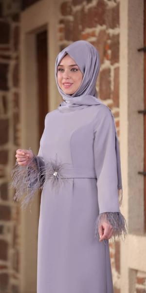 Kolu Tüylü Elbise - Gri
